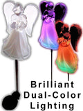 Acrylic Solar Angel Lights with A Frosted Skirt Solar Garden Stake - Box of 2 - Chickadee Solutions - 1