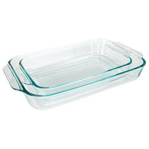 Pyrex Basics Clear Oblong Glass Baking Dishes 2 Piece Value Plus Pack Set - Chickadee Solutions