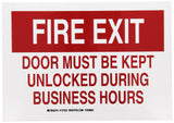 "Brady 127232 Fire Safety Sign Legend ""Fire Exit Door Must Be Kept Unlocked Du... - Chickadee Solutions - 1"