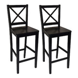 TMS 24-Inch VIrginia Cross Back Stools Black Set of 2 - Chickadee Solutions