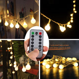 [Remote & Timer] 16 Feet 50 LED Outdoor Globe String Lights 8 Modes Battery O... - Chickadee Solutions - 1