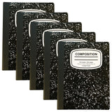 100 Sheet College Ruled Black Marble Composition Notebook - 5 Pack - Chickadee Solutions