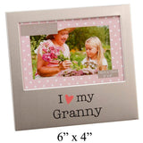 I Love My Granny Photo Frame Silver Metal Sweet Gift By Haysom Interiors - Chickadee Solutions