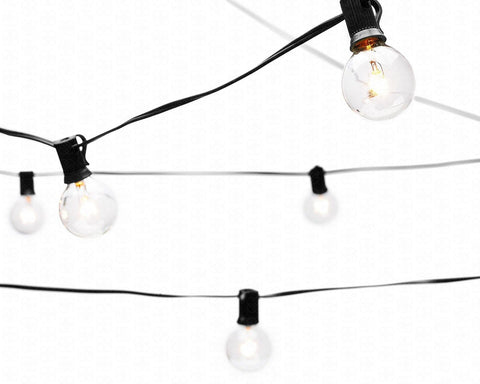 String Lights with 25 G40 Bulbs by Deneve - Connectable Outdoor Bistro Market... Chickadee ...