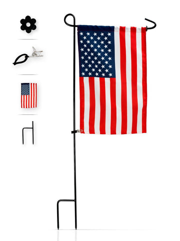 Flag Stand + American Flag + Rubber Stopper + Anti-Wind Clip by GreenWeR. Stu... - Chickadee Solutions - 1