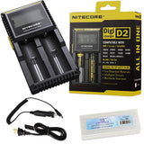 Nitecore D2 Digicharger Bundle with EASTSHINE EB182 Battery Box and Car Charger - Chickadee Solutions - 1