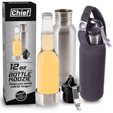 Chief Stainless Steel Beer Bottle Insulator + Bottle Opener + Bonus Insulated... - Chickadee Solutions - 1