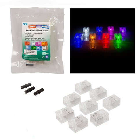 Light Up Building Bricks (2x3) - Multicolor (Different Color for Each Brick) ... - Chickadee Solutions - 1