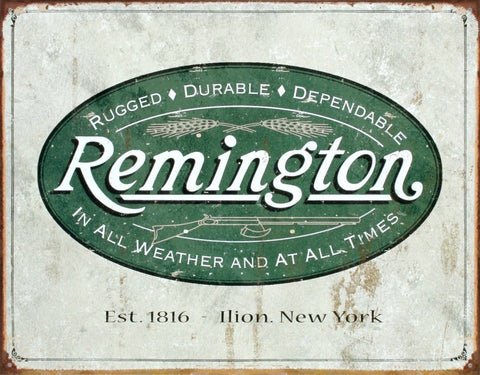 (13x16) Remington Guns Rifles Hunting In All Weather Logo Distressed Retro Vi... - Chickadee Solutions