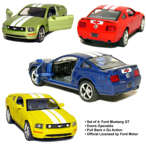 "Set of 4: 5"" 2006 Ford Mustang GT with Stripes 1:38 Scale (Blue/Green/Red/Yel... - Chickadee Solutions - 1"