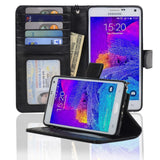 Navor Protective Flip Wallet Case for Samsung Galaxy Note 4 - (Black) Black - Chickadee Solutions - 1