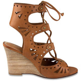 Mari A Womens Crete Wedge Lace Up Sandal Cognac 6 B(M) US - Chickadee Solutions - 1