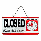 ADVANTUS 2-Sided Open/Closed with Hand Clock Sign 11.5 x 6 Inches Black/White... - Chickadee Solutions - 1