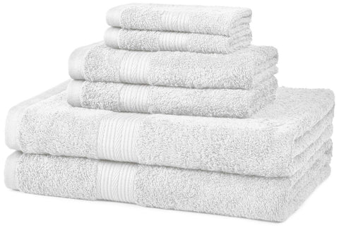 AmazonBasics Fade-Resistant Cotton 6-Piece Towel Set White - Chickadee Solutions - 1