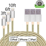 ONSON Lightning Cable3Pack 3FT 6FT 10FT Nylon Braided Charging Cable iPhone C... - Chickadee Solutions - 1