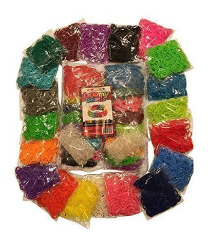 MASSIVE 8000pc Premium Loom Bands Refill Kit 20 Beautiful Rainbow Colors & St... - Chickadee Solutions - 1