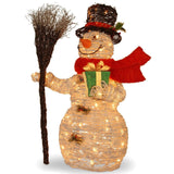 National Tree MZWR-35LO White Ratton Snowman Holding Gift and Broom with 70 C... - Chickadee Solutions