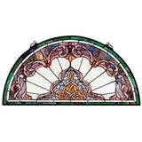 Design Toscano Lady Astor Demi-Lune Stained Glass Window - Chickadee Solutions