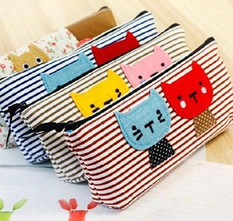 1 X hayabusa TM 4 pieces Kitten stripe Pen Bag cat Pencil case by haya by Hom... - Chickadee Solutions - 1