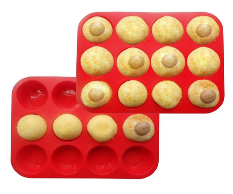 Suntake Silicone Muffin Pan12 Cups Red Cupcake Baking Tray Set of 2 - Chickadee Solutions - 1