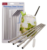 Stainless Steel Reusable Straws (set of 8) Bent and Straight Washable Eco Fri... - Chickadee Solutions - 1
