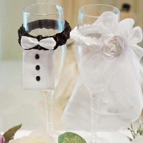 GoEa Bride & Groom Party Wedding Wine Glass Champagne Glass Cup Cover Decorat... - Chickadee Solutions - 1