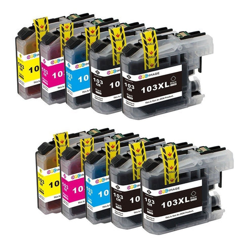 GPC Image 10 Pack Compatible Ink Replacement for Brother LC103XL (4 Black 2 C... - Chickadee Solutions - 1