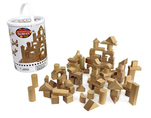 Wooden Blocks - 100 Pc Wood Building Block Set with Carrying Bag and Containe... - Chickadee Solutions - 1