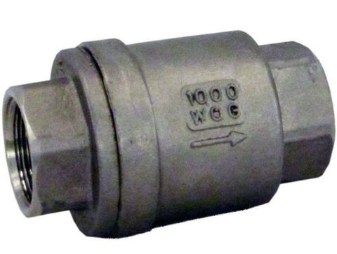 "304 Stainless Steel Vertical Check Valve 1/2"" NPT Spring Loaded In-line WOG10... - Chickadee Solutions - 1"