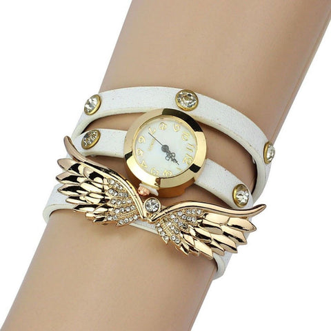 2014 Susenstore Vintage Leather Strap Angel Wings Rivet Bracelet Watches Wris... - Chickadee Solutions - 1