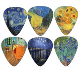 Vincent Van Gogh Guitar Picks - Celluloid Medium 12 Pack - Starry Night Sunfl... - Chickadee Solutions - 1