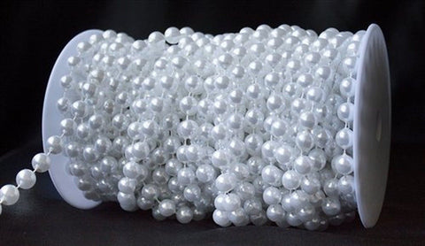 10 mm Large Pearls Faux Crystal Beads by the Roll - White - Chickadee Solutions
