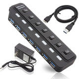 AllSmartLife High Speed 7 Port USB 3.0 Hub with Individual Switches and Led P... - Chickadee Solutions - 1