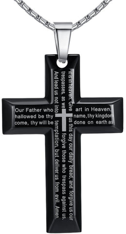 Men's Stainless Steel Large Lord's Prayer Cross Pendant Necklace Black Color ... - Chickadee Solutions - 1