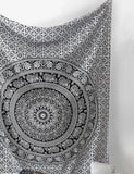SheetKart Black and White Tapestry Elephant Mandala Hippie Indian Traditional... - Chickadee Solutions - 1