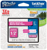 "Brother P-touch ~1/2"" (0.47"") White on Berry Pink Standard Laminated Tape - 1... - Chickadee Solutions - 1"