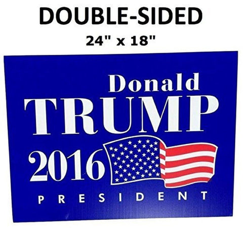 "LARGE 24"" x 18"" DOUBLE SIDED Donald Trump Yard Sign - Waterproof - Yard Stake... - Chickadee Solutions - 1"