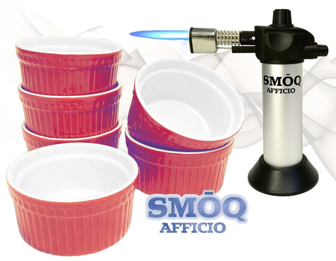 SMOQ Afficio Creme Brulee Ramekins with Precision Culinary Torch SMQ-090 Baki... - Chickadee Solutions - 1