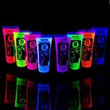 Uv Glow Blacklight Face and Body Paint 0.34oz - Set of 8 Tubes - Neon Fluores... - Chickadee Solutions - 1