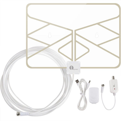 1byone Window Antenna 50 Miles Super Thin HDTV Antenna with 20ft Coaxial Cabl... - Chickadee Solutions - 1