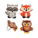 Woodland Animal Friends Cupcake Topper Rings - Set of 12 (Owl Raccoon Fox) - Chickadee Solutions