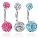 Lot of 3 Pieces 14G Bling Disco Ball Multi Crystal Belly Button Navel Ring Bl... - Chickadee Solutions