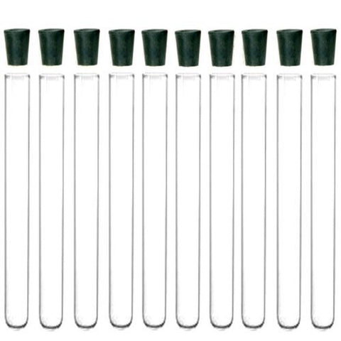 10 Pack - 20x150mm Pyrex Glass Test Tubes with Rubber Stoppers - Chickadee Solutions