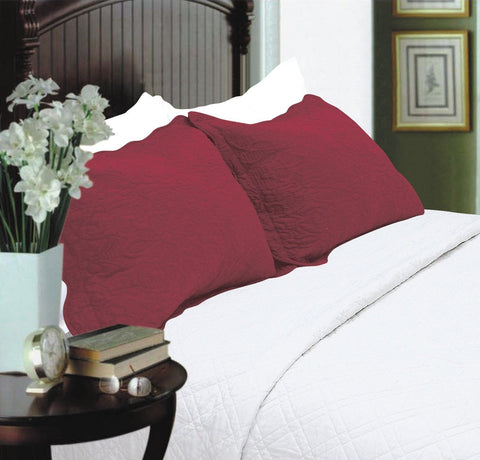 All For You 2-Piece Embroidered Pillow Shams-King size (king burgundy) King - Chickadee Solutions