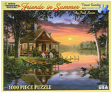 White Mountain Puzzles Friends in Summer - 1000 Piece Jigsaw Puzzle - Chickadee Solutions - 1