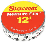 Starrett Measure Stix SM412WMERL Steel White Measure Tape with Adhesive Backi... - Chickadee Solutions