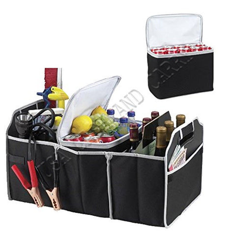 2 in 1 Trunk Organizer & Cooler Set - Collapsible Folding Flat Trunk Organize... - Chickadee Solutions - 1
