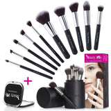 Beauty Lally 10 Pieces Makeup Brush Set with Black Case and Mirror - Chickadee Solutions - 1