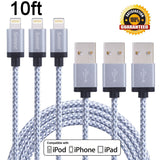 Sunnest 3Pcs 10FT Extra Long Nylon Braided 8 Pin Lightning Cable USB Charging... - Chickadee Solutions - 1