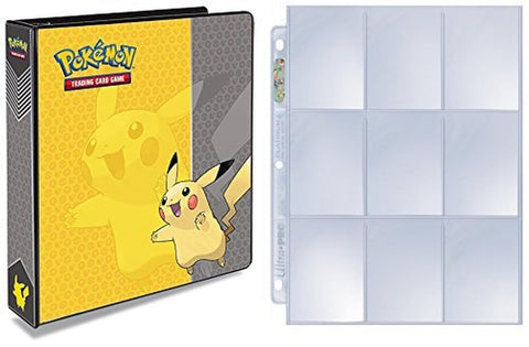 Pokemon Pikachu 3-Ring Binder with 25 Platinum Ultra-Pro 9-Pocket Pages - Alb... - Chickadee Solutions